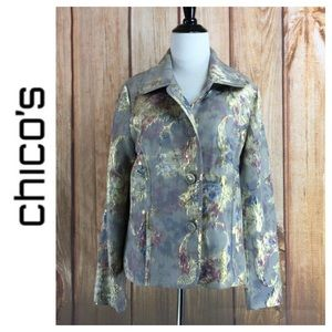 💙Chico's watercolor w/gold embroidery jacket 1/M8